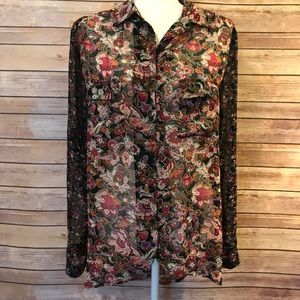 Band of gypsies button up sheer floral blouse